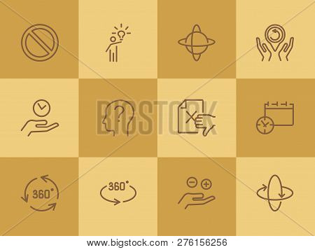 Idea And Investigation Icons. Set Of Line Icons On White Background. Idea, Human, Study. Science And