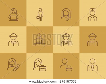 Professionals Line Icon Set. Manager, Doctor, Engineer. Job Concept. Can Be Used For Topics Like Wor