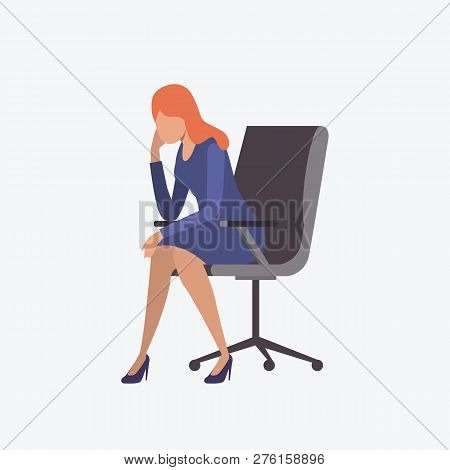 Stressed Female Entrepreneur Sitting On Armchair. Fatigue, Stress, Workaholic. Can Be Used For Topic