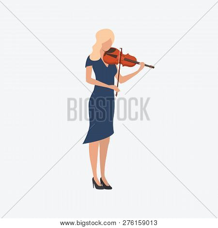 Woman Playing Violin. Fiddle, Melody, Fiddlestick. Can Be Used For Topics Like Classical Music, Perf