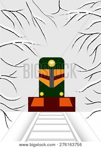 Cubism. The Locomotive Is Carrying Spring Through The Snowy Forest.