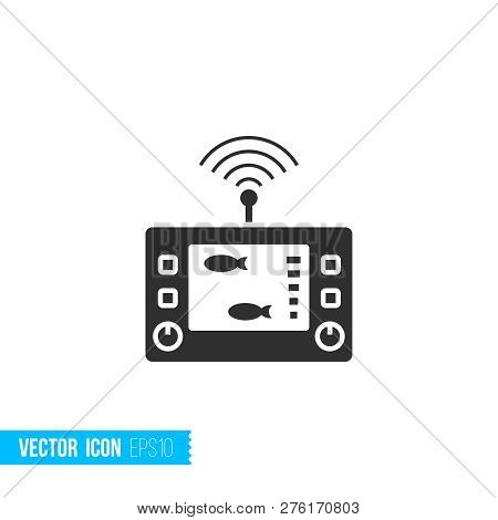 Digital Gadget Fishfinder Echo Sounder Icon In Silhouette Flat Style Isolated On White Background.
