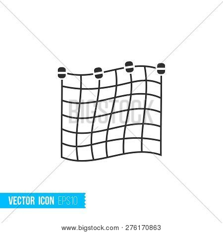 Fishing Net Icon In Silhouette Flat Style Isolated On White Background.