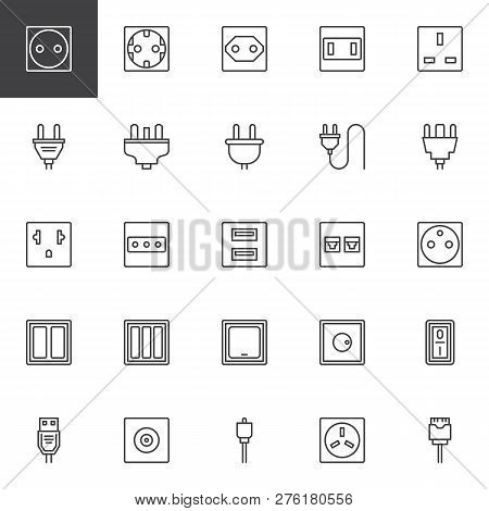 Plug And Socket Types Outline Icons Set. Linear Style Symbols Collection, Line Signs Pack. Vector Gr