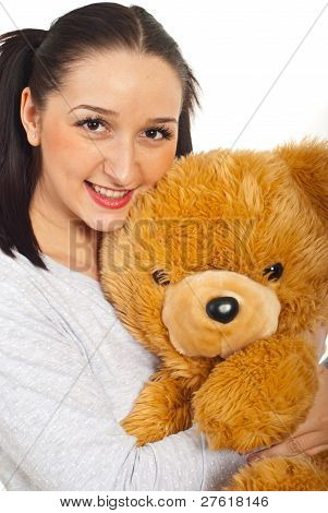 Smiling Young Female With Teddy Bear