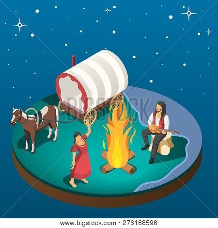 Gypsy Overnight Stay Composition With Gypsies Dancing Around Campfire Near Horse Harnessed To Wagon