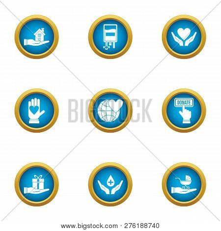 Rescue Children Icons Set. Flat Set Of 9 Rescue Children Icons For Web Isolated On White Background