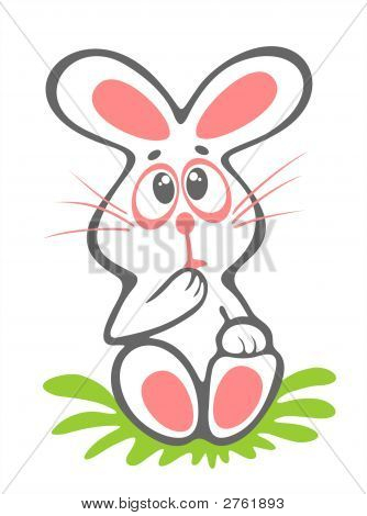 Timid easter rabbit isolated on a white background. Easter illustration. poster