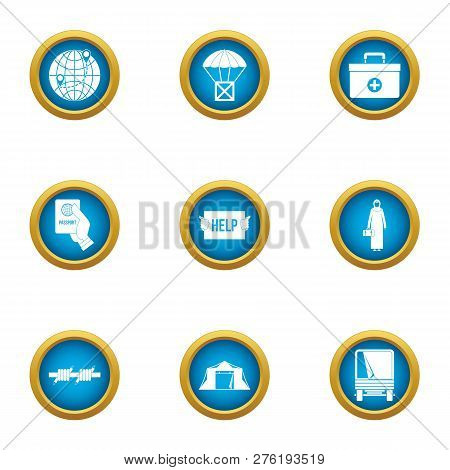 Donate help icons set. Flat set of 9 donate help icons for web isolated on white background poster