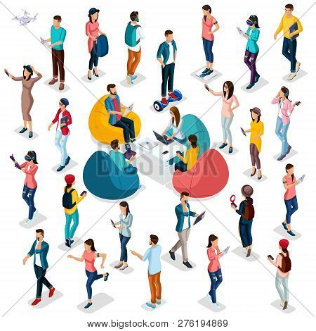 Trendy Isometric People And Gadgets, 3d People, Teenager, Students, Large Group Of People, Using Hi