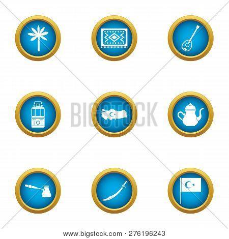 Turkish Stereotype Icons Set. Flat Set Of 9 Turkish Stereotype Icons For Web Isolated On White Backg