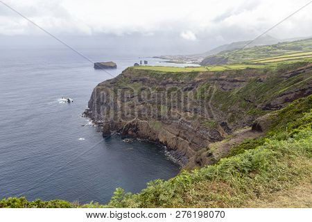 A Rainy Day Along The Cliffs Near Mosteiros On Sao Miguel In The Azores.