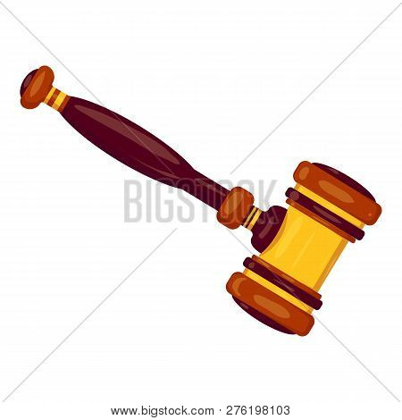 New Judge Gavel Icon. Cartoon Of New Judge Gavel Icon For Web Design Isolated On White Background