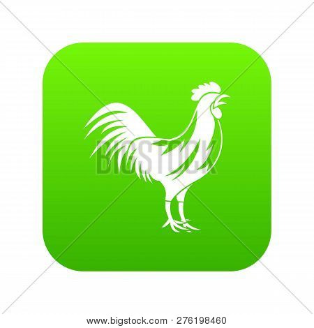 Gallic Rooster Icon Digital Green For Any Design Isolated On White Illustration