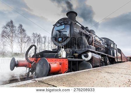 AVIEMORE, SCOTLAND - 30 DECEMBER 2018: LMS Ivatt 46512 Class 2 2-6-0 locomotive, one of only seven r