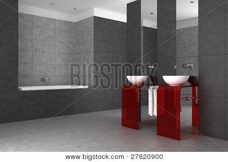 Tiled Bathroom With Double Basin And Bathtub
