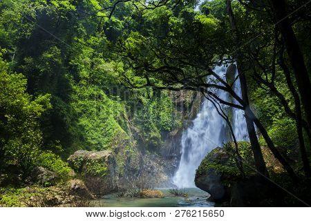 Tam Nang Waterfall In The Forest Tropical Zone National Park Takua Pa Phang Nga Thailand