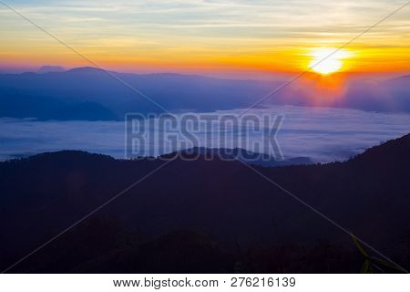 Trip To The Highest Mountain Of Pai - Mountain View With Foggy Environment During Sunrise In The Mor