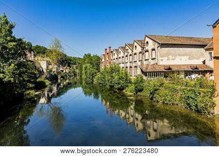 Typical Small Village L-isle-sur-le-doubs In France In The Doubs Valley