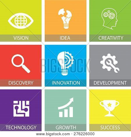 Innovation In Business Concept Flat Icons