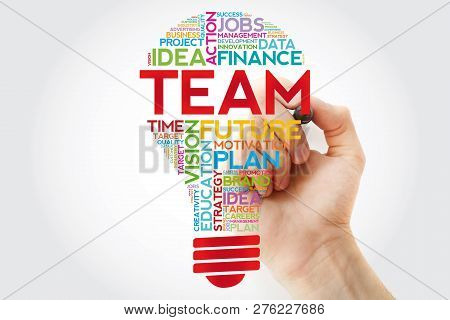 Team Bulb Word Cloud With Marker, Business Concept