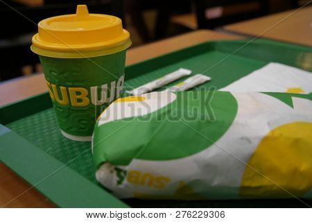 Astrakhan, Russia  08 Oct. 2018: Subway Sandwich And Takeaway Cup On Tray With Subway-logo On It