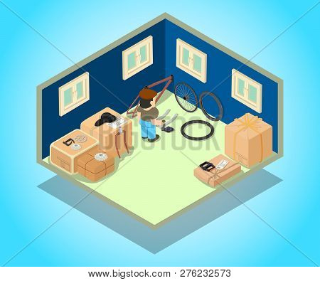 Stockroom Concept Banner. Isometric Banner Of Stockroom Vector Concept For Web, Giftcard And Postcar