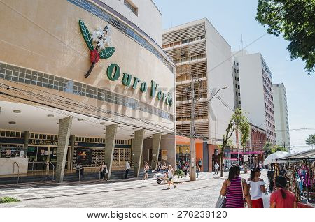 Londrina - Pr, Brazil - December 12, 2018: Cinema And Theater Called Cine Teatro Universitario Ouro
