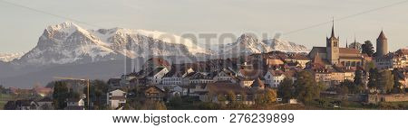 Typical Town Of The Alps With Mountain At The Bottom; Panoramic Of Town Of Mountain. Old Town