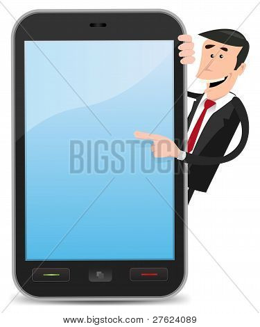 Cartoon Man Pointing Smartphone