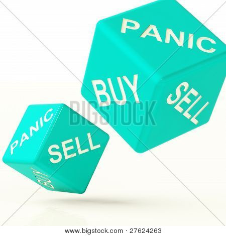 Buy Panic And Sell Dice Representing Market Turmoil