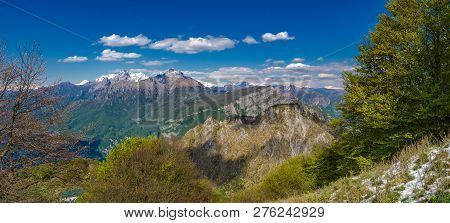 Orobie Alps As Seen From Hikitg Trail To Corni Di Canzo, Lombardy, Italy