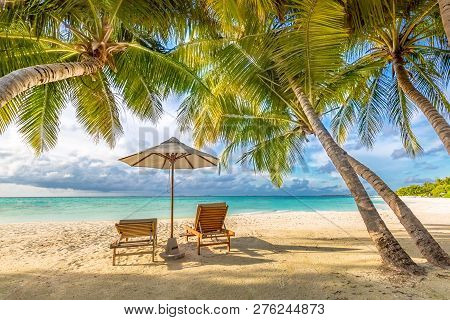 Summer Beach Sunset, Two Sun Chairs With Umbrella. Colorful Tropical Scene, Relaxing And Calmness Co