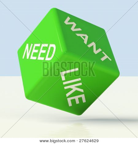 Need Want Like Dice Showing Craving And Desire