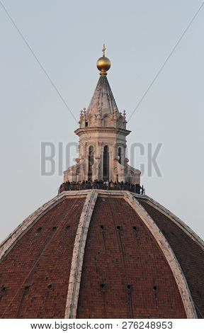 Unrecognizable People At The Top Of Brunelleschi Dome, Florence