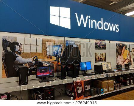 Fox Hills, Culver City, California -  October 25, 2018: Microsoft Windows On Display Featuring Compu