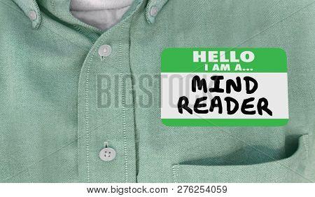 Mind Reader Hello Name Tag Words 3d Illustration