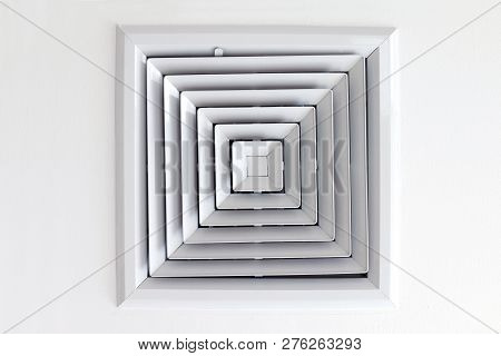 Air Duct Ceiling White, Air Duct In Square Shape, Condition Vent Modern Air Conditioner Or Air Vent