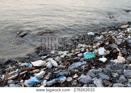 Waste Seaside, Garbage On Beach Pollution, Waste Trash In River, Toxic Waste, Wastewater, Dirty Wate