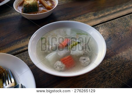 Tom Gaeng Jued Look Chin Moo (thai Word), Clear Glass Noodle Soup, Clear Soup With Bean Curd And Min