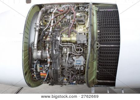 Opened Aircraft Jet Engine In The Hangar