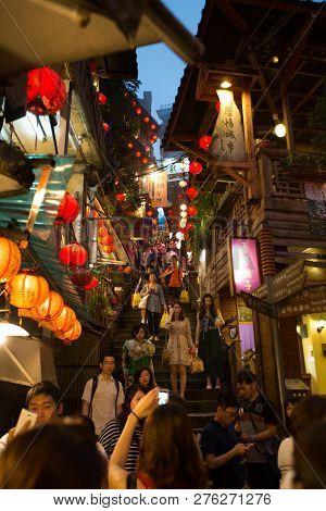 Taiwan, Taipei, Jiufen - May 2013: Tourists Visit The Famous Jiufen Old Street In Taipei, Taiwan. Ji