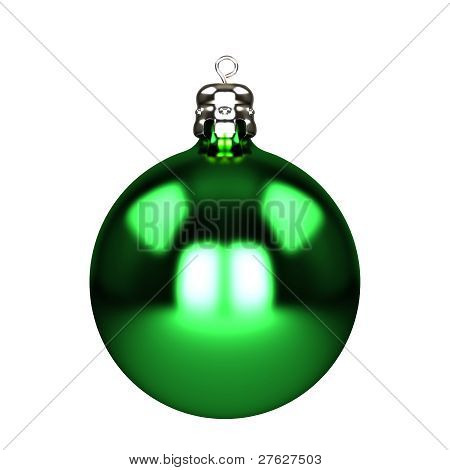 Green Christmas Decorations Isolated On White