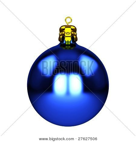 Blue Christmas Decorations Isolated On White