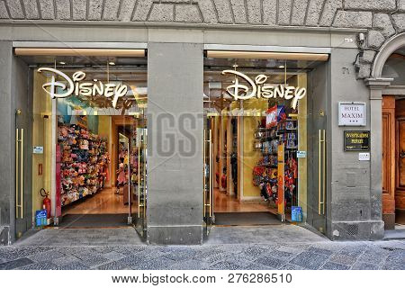 Shopping. Exterior Of Disney Store. Toys. International Chain Of Specialty Stores Selling Only Disne