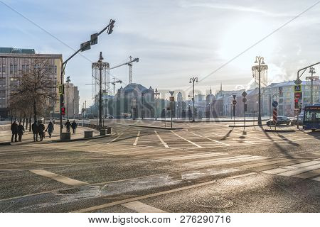 Moscow, Russia - December 01.2018: Lubyanka Square, One Of The Oldest Squares Of The City, The Forme