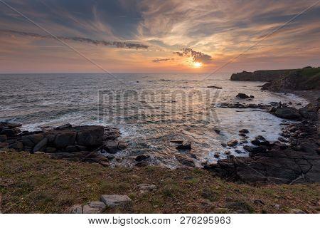 Seascape During Sunrise. Beautiful Natural Seascape. Sea Sunrise At The Black Sea Coast. Magnificent