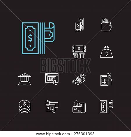 Finance Icons Set. Mobile Payment And Finance Icons With Dollar, Tax Calculator And Pos Terminal. Se