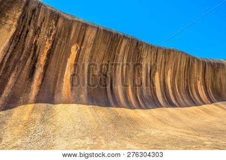 Scenic Landscape Of Wave Rock A Rock Formation That Is Shaped Like A Tall Ocean Wave, Hyden, Western