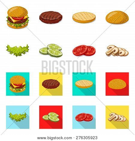 Vector Design Of Burger And Sandwich Logo. Collection Of Burger And Slice Stock Vector Illustration.